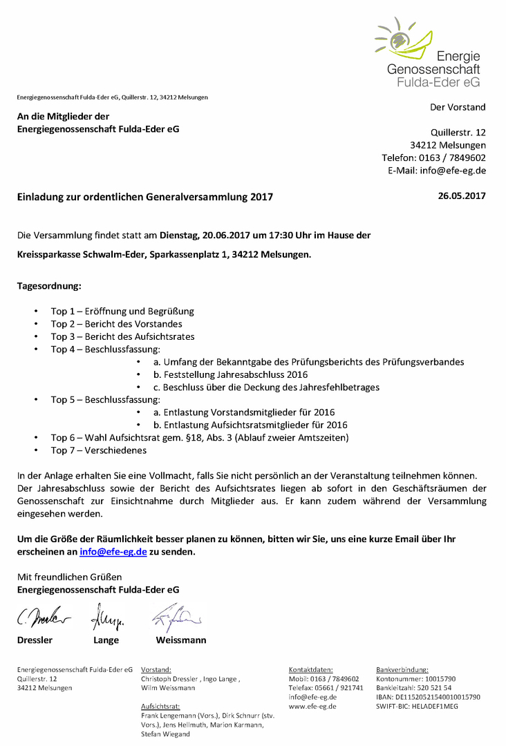 energiegenossenschaft fulda-eder eg - aktuelles, Einladung